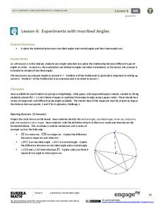 Experiments with Inscribed Angles Lesson Plan
