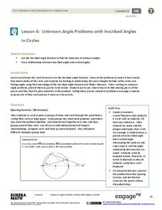 Unknown Angle Problems with Inscribed Angles in Circles Lesson Plan