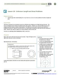Unknown Length and Area Problems Lesson Plan