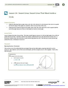 Secant Lines; Secant Lines That Meet Inside a Circle Lesson Plan