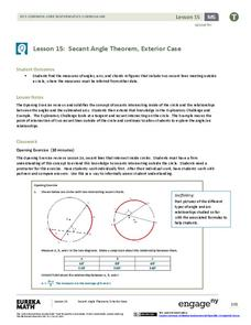 Secant Angle Theorem, Exterior Case Lesson Plan