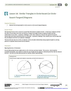 Similar Triangles in Circle-Secant (or Circle-Secant-Tangent) Diagrams Lesson Plan