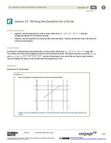 Writing the Equation for a Circle Lesson Plan