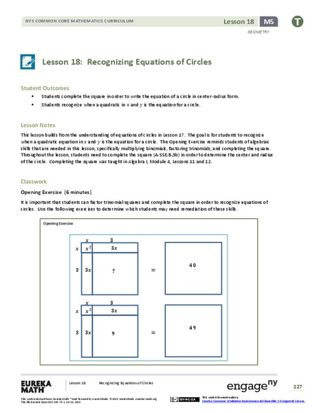 Recognizing Equations of Circles Lesson Plan