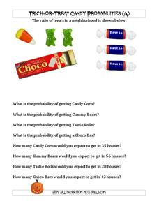 Trick-Or-Treat Candy Probabilities Worksheet
