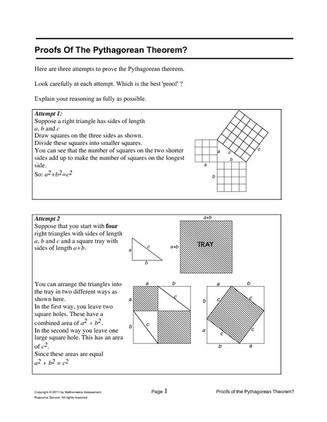 Proofs Of The Pythagorean Theorem? Worksheet for 8th Grade | Lesson ...