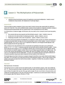 The Multiplication of Polynomials Lesson Plan