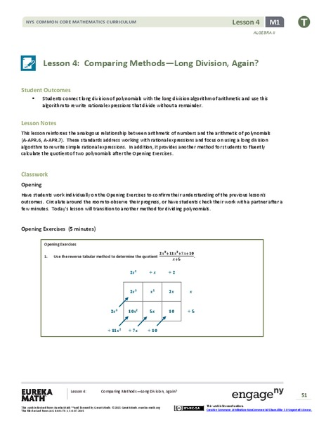 Comparing Methods—Long Division, Again? Lesson Plan