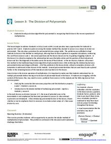 The Division of Polynomials Lesson Plan