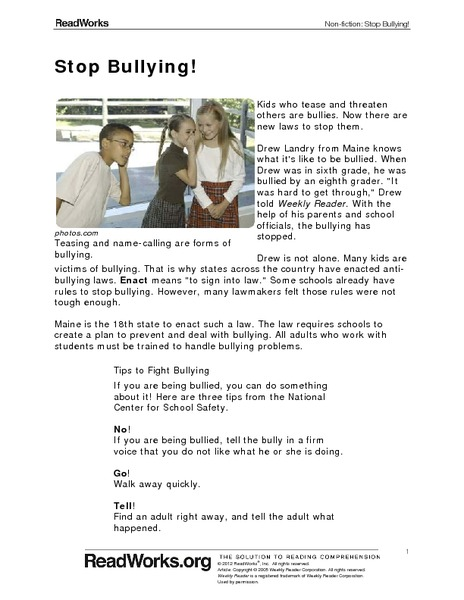 Stop Bullying! Worksheet
