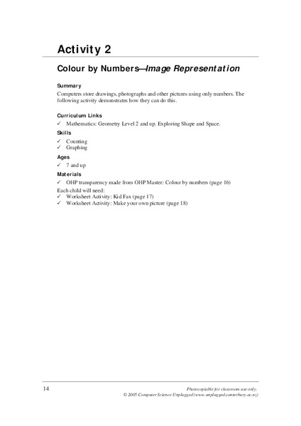 Colour by Numbers–Image Representation Lesson Plan