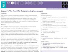 The Need for Programming Languages Lesson Plan