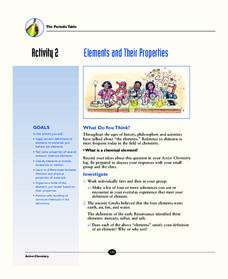 Elements and Their Properties Activities & Project