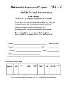 Middle School Mathematics 4 Assessment
