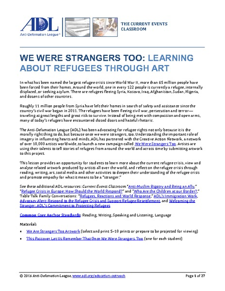 We Were Strangers Too: Learning About Refugees Through Art Lesson Plan
