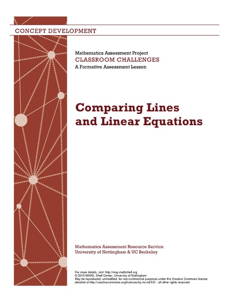 Comparing Lines and Linear Equations Lesson Plan