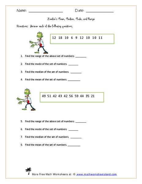 Zombie 39 S Mean Median Mode And Range Worksheet For 6th