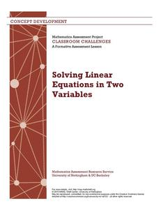 Solving Linear Equations in Two Variables Lesson Plan