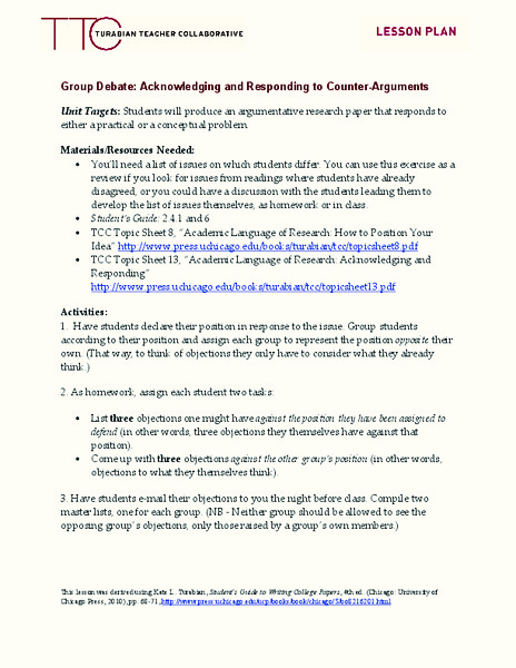 Group Debate: Acknowledging and Responding to Counter-Arguments Lesson Plan