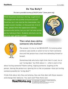 Bullying Lesson Plans & Worksheets | Lesson Planet