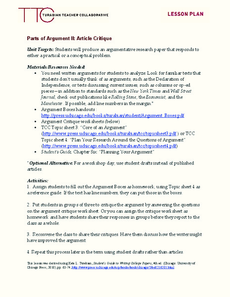 Parts of Argument II: Article Critique Lesson Plan