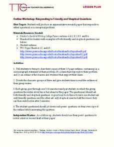 Outline Workshop: Responding to Friendly and Skeptical Questions Lesson Plan