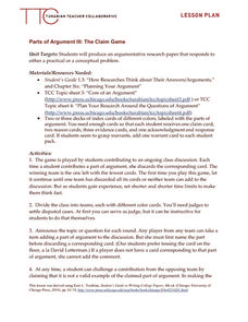 Parts of Argument III: The Claim Game Lesson Plan