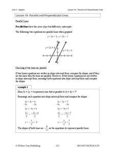 Parallel and Perpendicular Lines Handouts & Reference