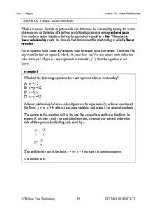 Linear Relationships Handouts & Reference