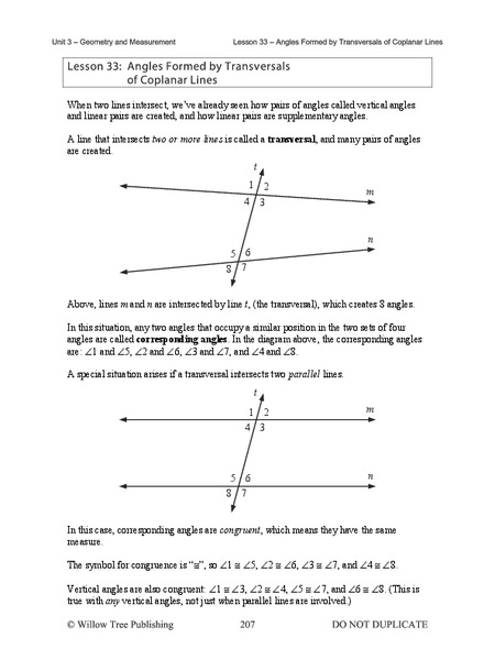 Angles Formed by Transversals of Coplanar Lines Handouts & Reference