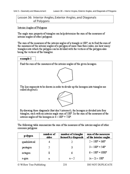 Interior Angles, Exterior Angles, and Diagonals of Polygons Handouts & Reference