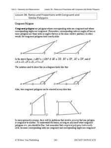 Ratios and Proportions with Congruent and Similar Polygons Lesson Plan