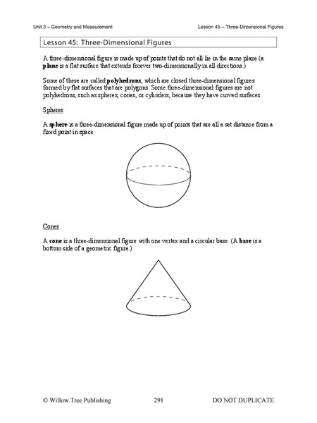 Three-Dimensional Figures Handouts & Reference