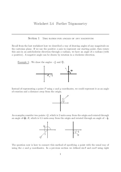 Further Trigonometry Worksheet For 11th 12th Grade