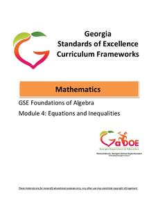 GSE Foundations of Algebra: Equations and Inequalities Unit for 7th