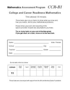 College and Career Readiness Mathematics B1 Assessment