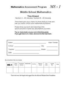 Mathematics Assessment Project: Tests for Middle School