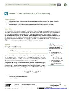The Special Role of Zero in Factoring Lesson Plan