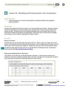 Modeling with Polynomials—An Introduction (part 1) Lesson Plan
