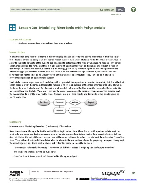 Modeling Riverbeds with Polynomials (part 1) Lesson Plan