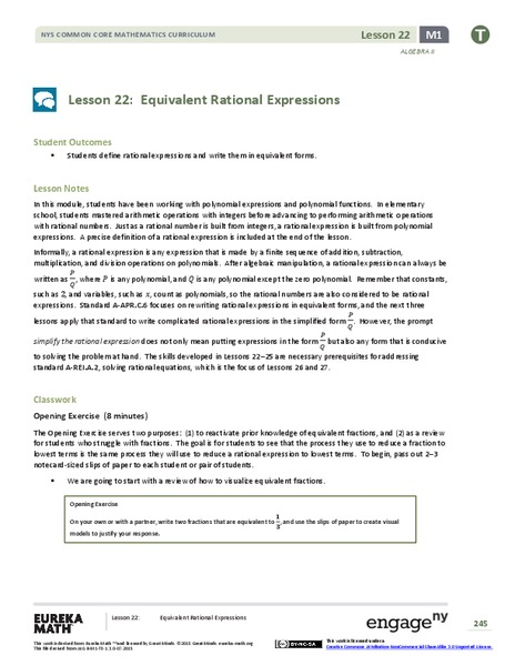 Equivalent Rational Expressions Lesson Plan