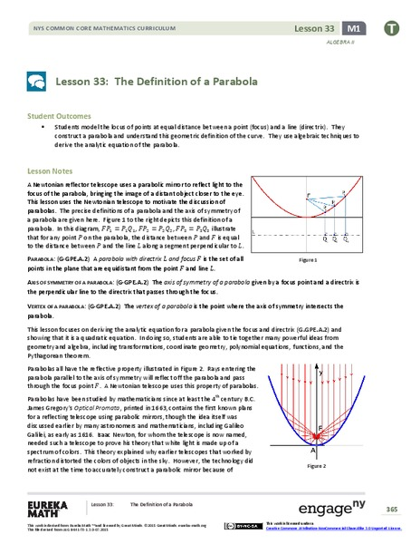 The Definition of a Parabola Lesson Plan