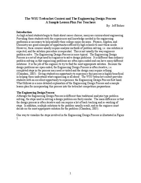 The Wsu Trebuchet Contest And The Engineering Design Process Lesson Plan For 7th 12th Grade Lesson Planet