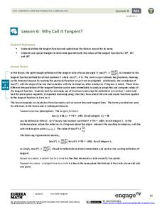 Why Call It Tangent? Lesson Plan