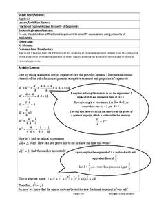 Fractional Exponents and Property of Exponents Lesson Plan