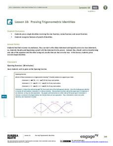 Proving Trigonometric Identities Lesson Plan