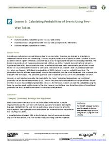 Calculating Probabilities of Events Using Two-Way Tables Lesson Plan