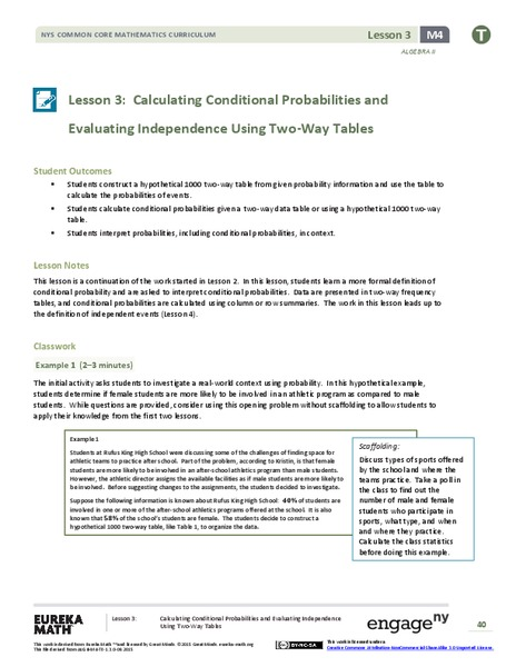 Calculating Conditional Probabilities and Evaluating Independence Using Two-Way Tables (part 1) Lesson Plan