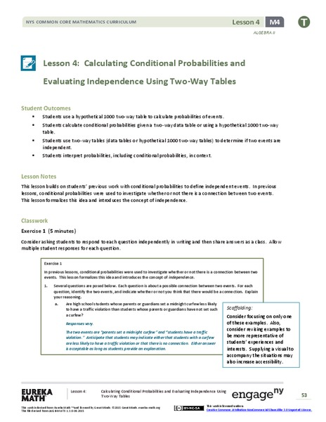 Calculating Conditional Probabilities and Evaluating Independence Using Two-Way Tables (part 2) Lesson Plan