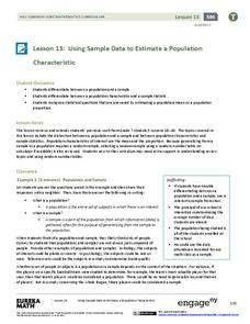 Using Sample Data to Estimate a Population Characteristic Lesson Plan